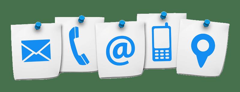 Folios con diferentes símbolos de contacto: correo, teléfono fijo, teléfono móvil, etc.