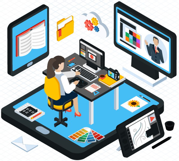 Diseñador gráfico creando contenidos e-learning a medida en su puesto de trabajo con diferentes herramientas.