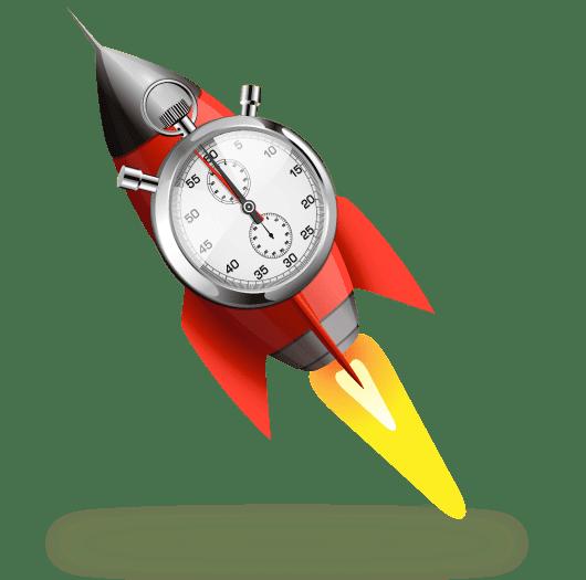Cohete representando la rapidez en el diseño y creación de contenidos rapid learning.