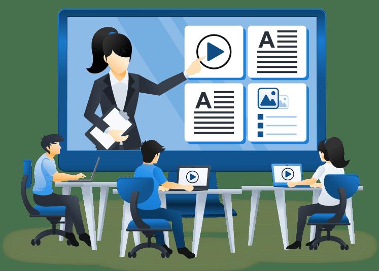 Alumnos participando en aula virtual por medio de plataforma de teleformación