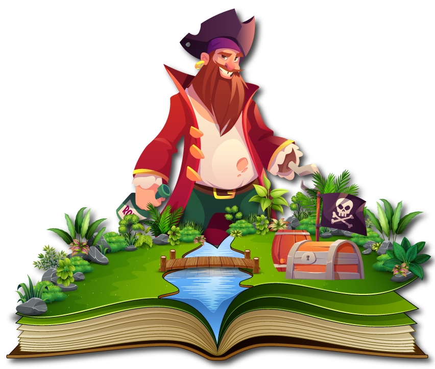 Ilustración para Storytelling: Un libro del que surge un rio, un tesoro y un pirata en la selva.